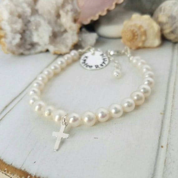 Pearl Baby Bracelet, AAA Freshwater Pearls, Baby bracelet, Baptism Bracelet, Christening bracelet, Sterling Silver Cross Charm with Initial
