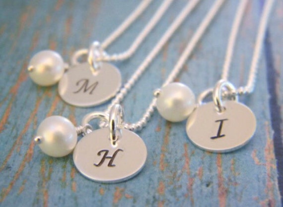 Personalized initial necklaces, Bridesmaid jewelry, Custom bridal gifts, Sterling silver bridesmaids necklaces, Initial necklace, Pearl
