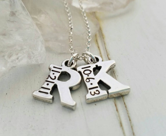 Personalized Initial necklace, letter and date necklace, 2 initial necklace, Sterling silver Custom Mother necklace, Letter initial necklace