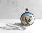 Elephant, Miniature Painting, Hand Painted Pendant Charm Necklace, Handmade Jewelry by Artdora
