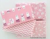 Girl's Fabric, Pink Cotton Fabric, White Cartoon Polar Bear Rabbit Weaves Chevron Cotton - 1/2 yard