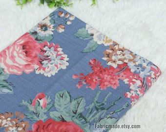 Floral Fabric, Large Pink Red Rose Flower On Blue Linen, Shabby Chic Flower Linen Blend Fabric - 1/2 yard