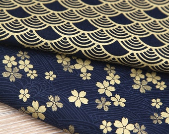 Kimono Cotton Fabric, Dark Blue Cotton With Gilding Gold Wave Sakura Flower Clumps Vintage Style Fabric- 1/2 Yard