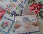 Lot of Five Vintage Towels 1940s Linen Textile
