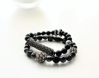 Black Agate and Facted Onyx Gemstone Gunmetal Pave Beaded and Bar Stackable Bracelet