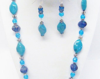 Oval w/Mixed Turquoise Acrylic Beaded Necklace/Bracelet/ Earrings Set
