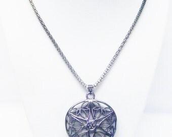 Large Gum Metal Filigree Heart Pendant Necklace