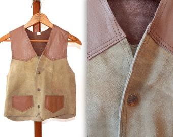 vintage leather vest 70s suede leather vest cowboy costume cowgirl vest hunting shooting biker vest tool brown vest cool vest western wear