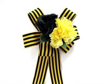Yellow and black gift bow, Gift wrap bow, Special Occasion bow, Large gift bow, Anniversary gift bow, Party and home decoration (GN121)