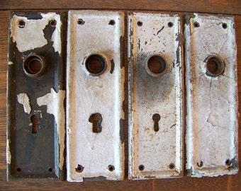 Antique Shabby Chic Door Plates (set of 4)Antique Door Hardware.Door Knob Backplates.Rustic House Numbers.Chippy White Paint.Vintage Doors.