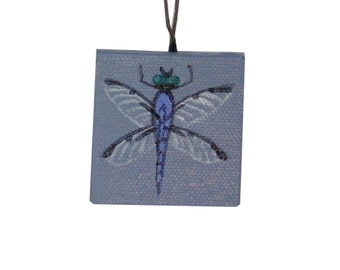 Small Insect Art, Miniature Dragonfly Painting, Slate Blue, Bug Art