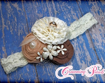 Hair Accessories, Mauve Brown, Ivory, Peach Headband, Baby Girl Hair Bow, Fabric Flower Hair Accessory, Hair Clip, Fabric Flower Brooch