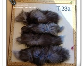 T-23 Genuine Huge Fur Silver Fox dyed purple blue lilac TAIL Craft Supply Pelt Remnant Piece