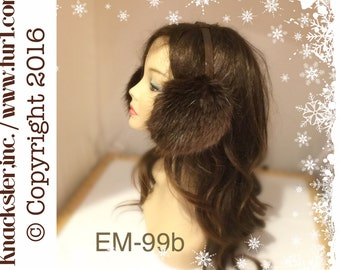 EM-99 Genuine Long Hair Natural BROWN BEAVER Xl Fur earmuffs adjustable headband