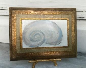 Italian Florentine Seashell Wall Plaque/Seashell Art/Vintage Florentine Plaque/Original Art Painting