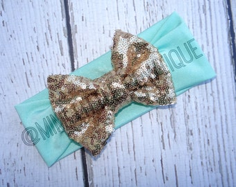 Mimi's sparkly Bow- Mint green with gold  sparkly bow -Head wrap-Girl Turban-Baby headband-Sparkle Turban Gold Headband Head wrap