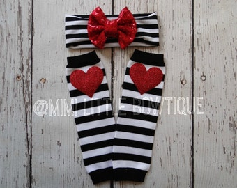 Black and white stripes Red Glitter heart baby leg warmers set black and white leg warmers, baby leg warmers-Sparkle leg warmers