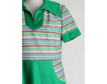 70s   dress   Apple green stripes  medium large