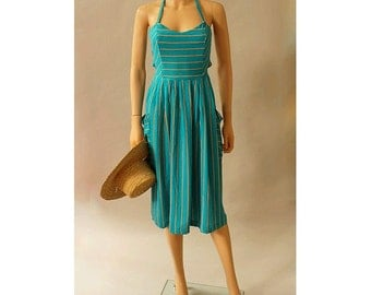 Ramatuelle 80s french halter dress stripes small open back