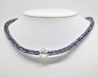 Ladies bright silver and navy viking knit necklace with nugget bead