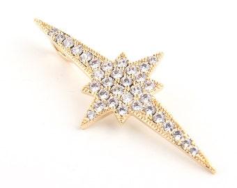 Rhinestone Pole Star Pendant, Gold Plated, Star Pendant,1  piece // GP-430