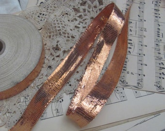 """Metal Ribbon Antique French Early Century Bright Copper Metal Lame Ribbon 1/2"""" .5"""" Inch 15mm Wide ONE YARD"""