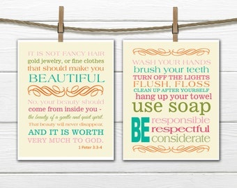 Bible Verse Christian Art  Print 1 Peter 3:3-4 - Bathroom Print Set - Bathroom Rules