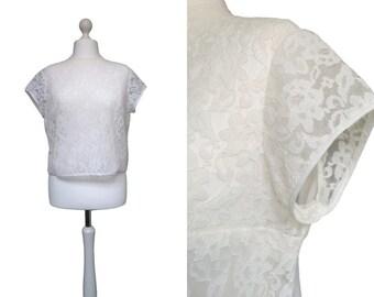 White Lace 1950's Blouse - 50's Blouse - Button Back Blouse