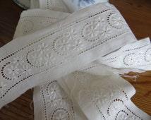 6.55 Yards Lace FreeShipping World Finest Cotton Batiste Punchwork Floral Pattern   Insert Insertion Original Antique Tim Vintage Doll Cloth