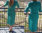 Teal Dress, Women's Vintage Dress, Size 6, Size 5, Nilani Dress, Ladies' Turquoise Dress, Gift For Her, Mother of the Bride Dress