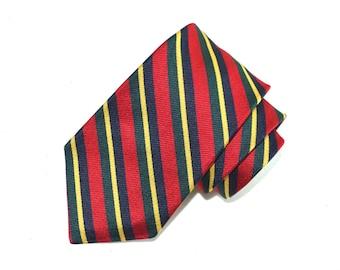 Churchill Collection Necktie, Men's Red Vintage Necktie, Striped Tie, Vintage Necktie, Silk Tie, Men's Neckwear, Green, Blue, Yellow, Red