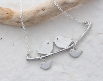 Love Birds Necklace . Couple Necklace with two Baby Birds . Sister gift. Mothers gift. mother bird necklace family