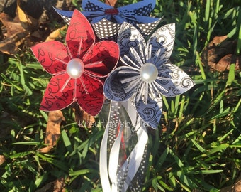 PAPER FLOWER WAND / origami flowers / paper flowers / paper bouquet / paper bouquet / wedding decoration / girl wand / paper wand