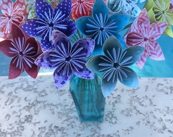Origami Paper Flowers with Stem / wedding decorations, paper flower, origami, kusudama, centerpiece, origami bouquet, paper bouquet