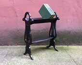 vintage angled bookcase. harp / lyre motif book shelf. distressed style furniture.