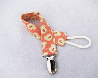Pacifier Clip - Coral Paisley