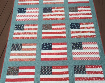 Stars and Stripes Throw Quilt