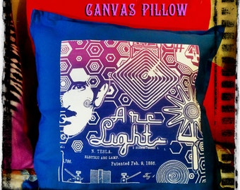 "Nikola Tesla Pillow- Awesome Decorative 20"" throw Pillow - Neon Light Blue Novelty Pillow with Removable Cover"