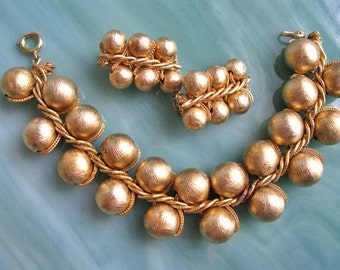 Gold Orb Bead Balls Vintage Bracelet, Woven Gold Frost Metal Globes, Clip Earrings, Braided Gold Chain, Metallic Marble Balls, Holiday Party
