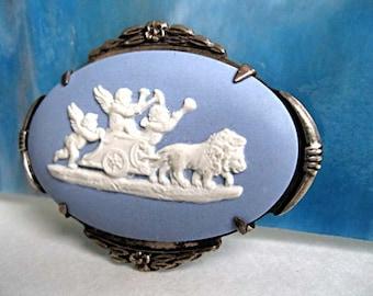 Wedgewood Sterling Blue Jasper Brooch, Cherubs, Lions, Chariot Procession, Greek Mythology, Flower Frame, Jasperware, Childs Mourning Brooch