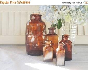 On Sale Vintage Brown Glass Bottles, Set of 5, Medicine Bottles, Instant Home Decor, Hand Dug, Craft Supplies, Collection 3