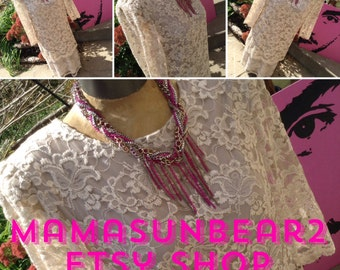 Vintage 80s boho lace blouse and skirt set free shipping