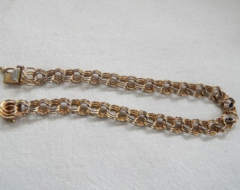 triple link gold filled 1/20 12k GF charm bracelet safety clasp  8""