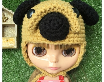 """Neo Blythe Outfit : """"Cute Pug Dog Hat"""" (Chochet Hat)"""
