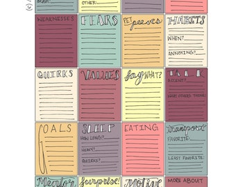 Character Writing Prompt Stickers **Instant Download** Perfect for your Erin Condren Life Planner, Plum Planner, & more planners!