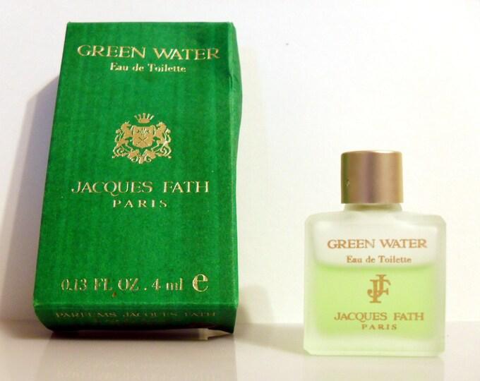 Vintage 1990s Green Water by Jacques Fath 0.13 oz Eau de Toilette Miniature Mini COLOGNE #2