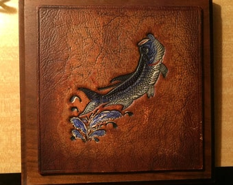 Leather  Art - Jumping Fish