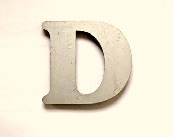 Vintage Silver Shop Pub Sign Letter 'D'
