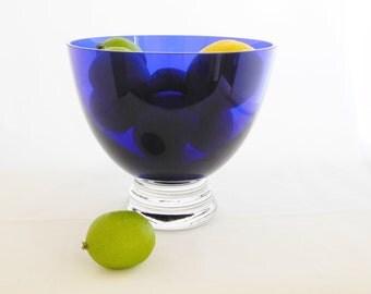 Cobalt Blue Pedestal Bowl, Blue Glass Bowl, Home Decor