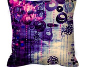 BUBBLEGUM DREAMS Deep Purple Pink Art Suede Decorative Throw Pillow Cushion Cover Abstract Painting Clouds Bubbles Girly Chic Modern Decor